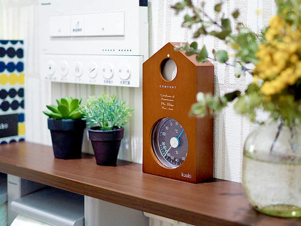 名入れ ハト温湿度計 ブラウン 温度計 湿度計