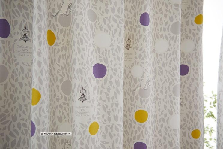 2級遮光カーテン ムーミン 「COLOR CIRCLE カラーサークル グレー」 生地サンプル ※1種類につき1枚まで、計5枚まで