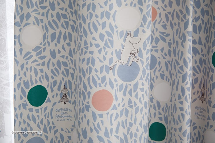 2級遮光カーテン ムーミン 「COLOR CIRCLE カラーサークル ブルー」 幅〜200cm×丈〜260cm