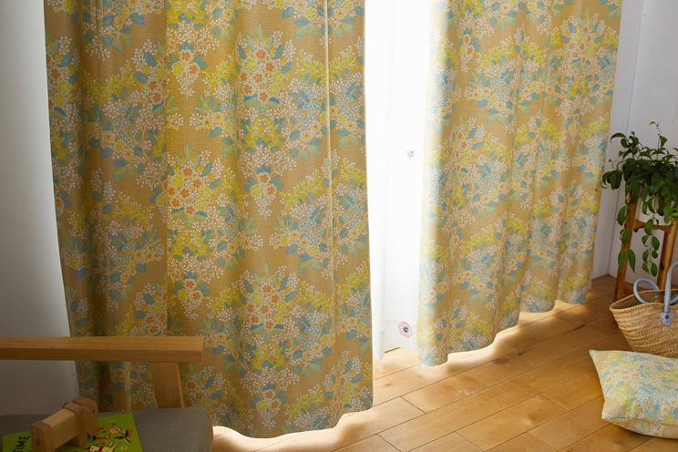 2級遮光カーテン スミノエ デザインライフ 「MIX BOUQUET ミックス ブーケ イエロー」 幅〜300cm×丈〜260cm