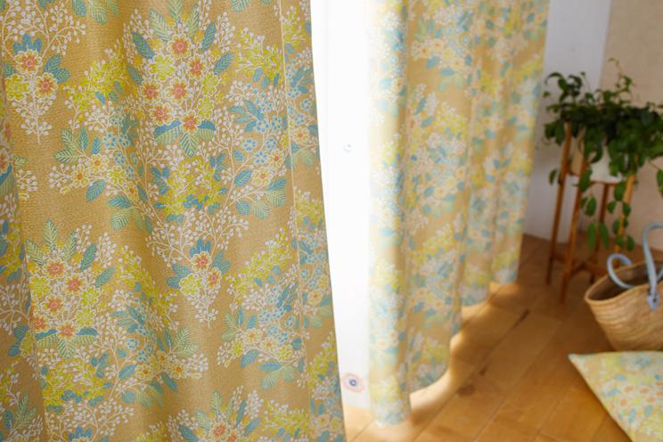 2級遮光カーテン スミノエ デザインライフ 「MIX BOUQUET ミックス ブーケ イエロー」 生地サンプル ※1種類につき1枚まで、計5枚まで