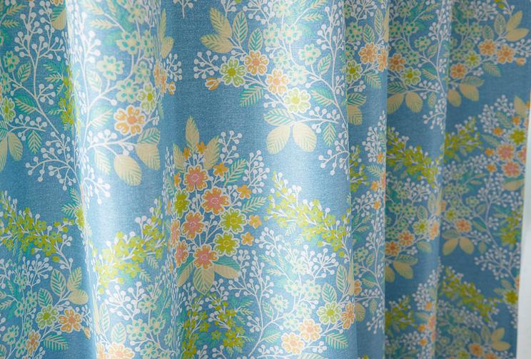 2級遮光カーテン スミノエ デザインライフ 「MIX BOUQUET ミックス ブーケ ブルー」 生地サンプル ※1種類につき1枚まで、計5枚まで