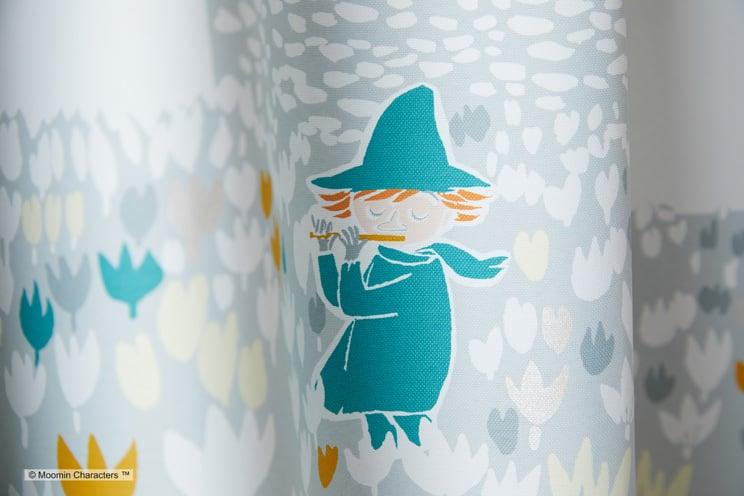 2級遮光カーテン ムーミン 「SOFT MELODY ソフトメロディー ブルー」 幅〜300cm×丈〜260cm