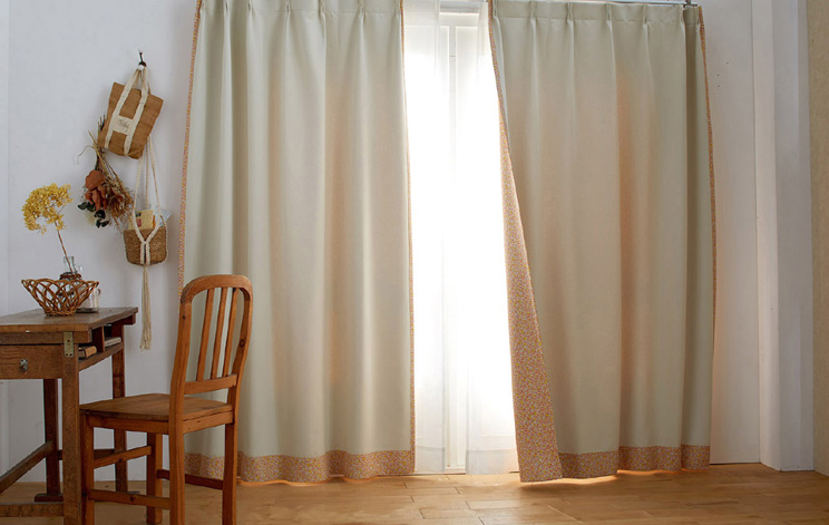 2級遮光カーテン スミノエ デザインライフ 「CHILALA チララ ベージュ×オレンジ」 幅〜300cm×丈〜260cm