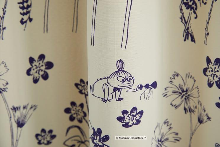 2級遮光カーテン ムーミン 「HIDE AND SEEK ハイドアンドシーク アイボリー」 幅〜100cm×丈〜260cm