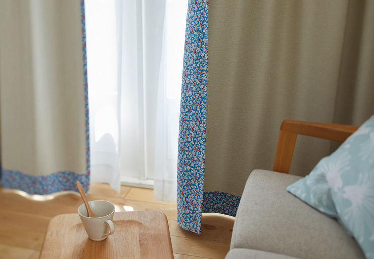 1級遮光カーテン スミノエ デザインライフ 「SIFFLET シフレ アイボリー×ブルー」 幅〜300cm×丈〜260cm