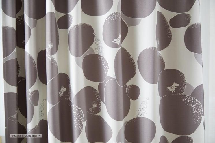 2級遮光カーテン ムーミン 「ROCK PATTERN ロックパターン ダークグレー」 幅〜100cm×丈〜260cm