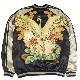 【お取り寄せ】火の鳥と菊花 刺繍スカジャン ブラック×カラー