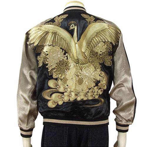 【お取り寄せ】火の鳥と菊花 刺繍スカジャン ブラック×モノトーン