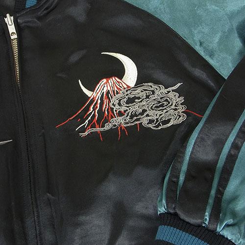 火の鳥の飛翔 刺繍スカジャン ブラック