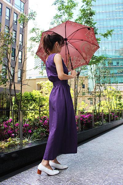 郡内織 晴雨兼用傘(長傘) リボンの騎士 Bピンク