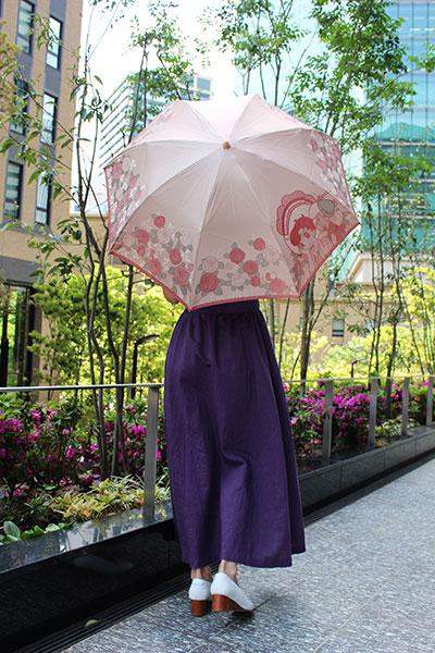 郡内織 晴雨兼用折りたたみ傘 リボンの騎士 Bピンク
