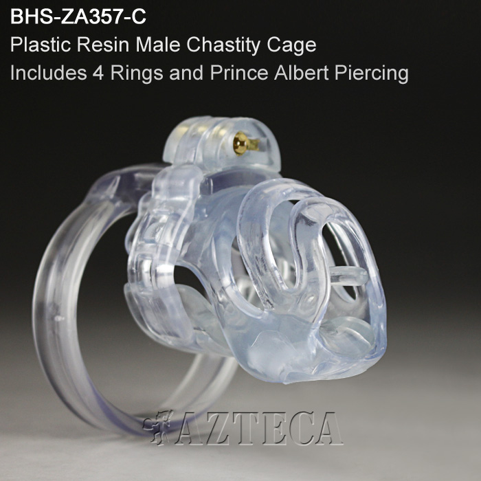男性用貞操帯 プラスチック樹脂製品 プリンスアルバートピアス交換可能(6ゲージ) 貞操具(射精管理 M男 BDSM 浮気防止) BHS-ZA357-C