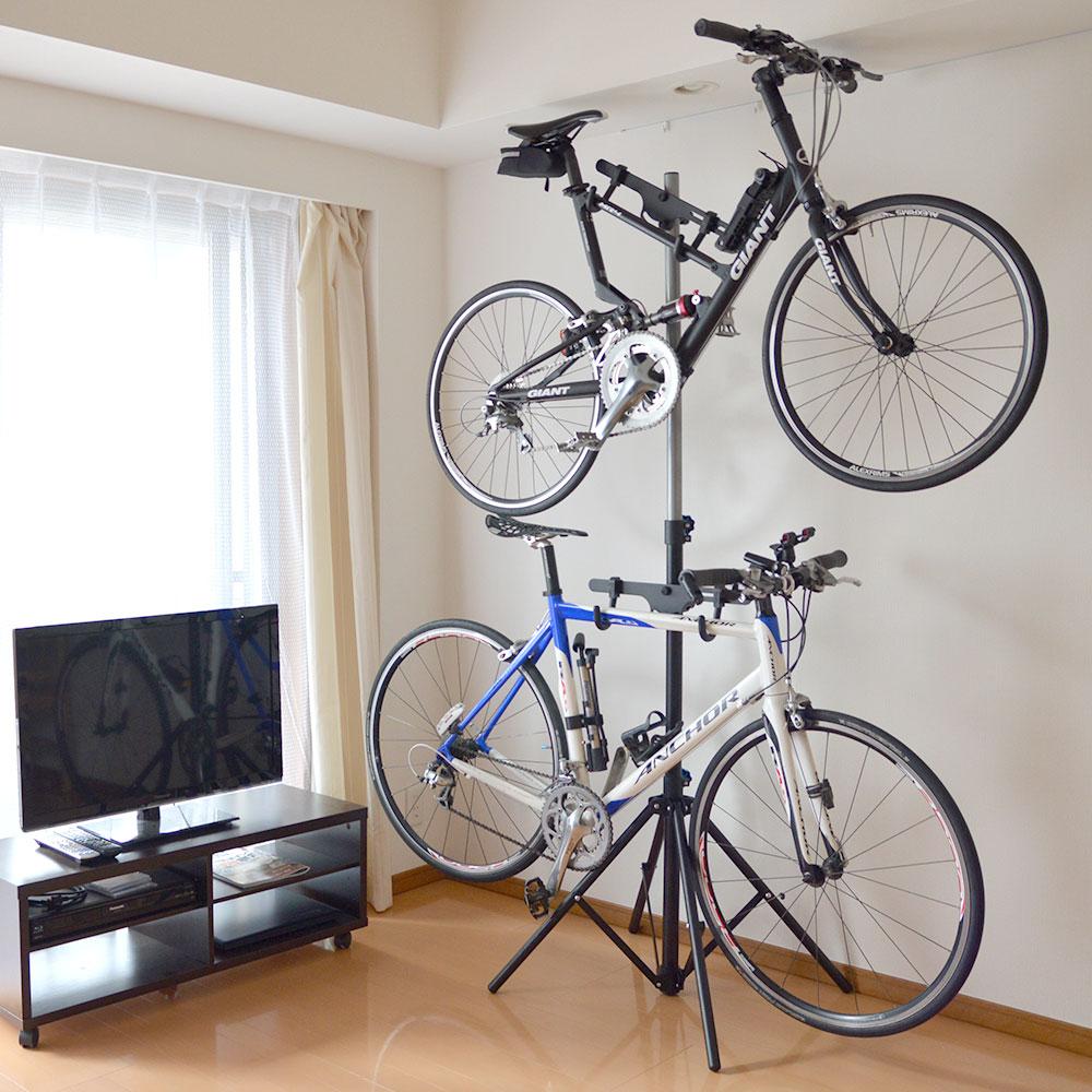 自転車2台縦置きポールスタンド