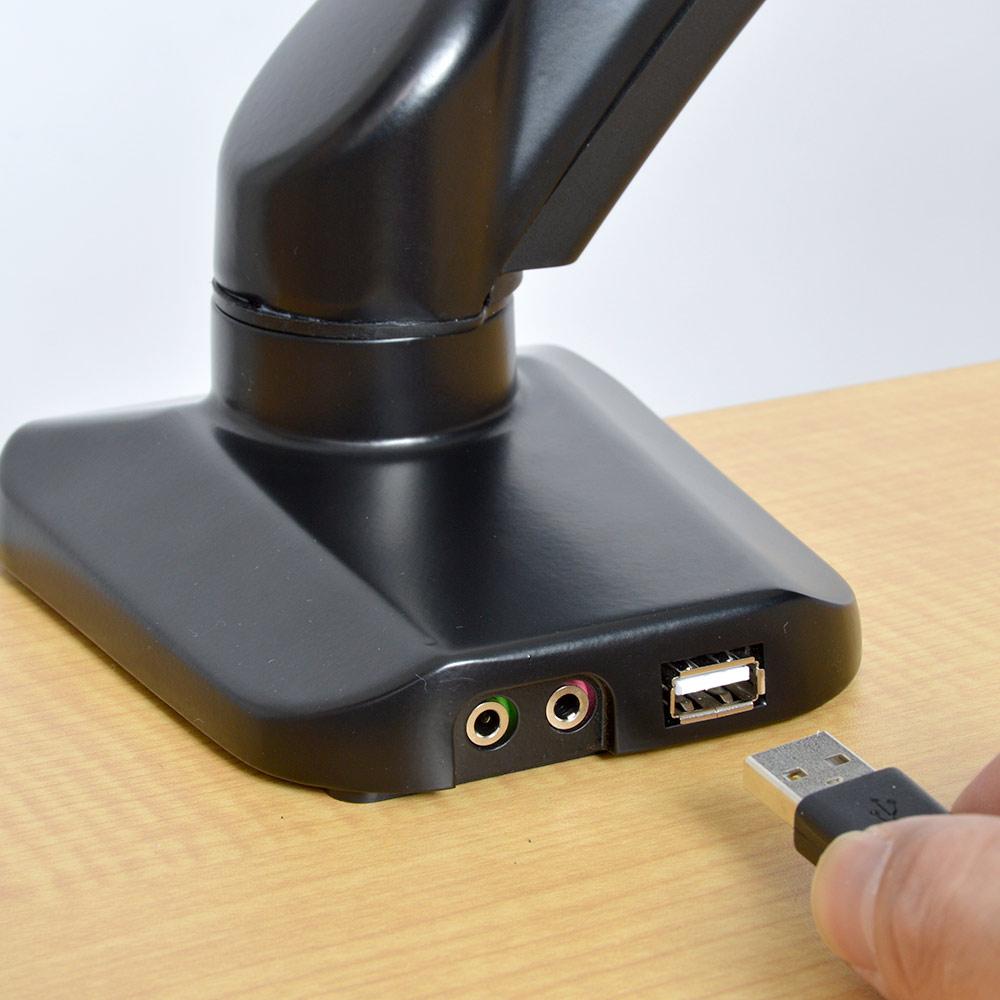 USBポート&オーディオコネクタ付き 4軸式ガスショックモニターアーム(シングル)