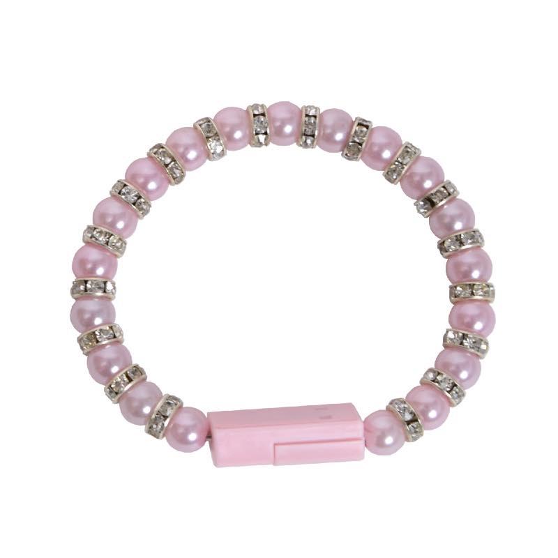 iPhone用きらきらパールブレスレット充電ケーブル(ピンク)