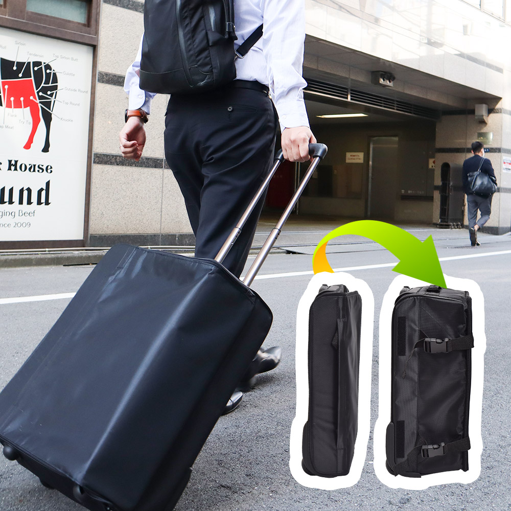 省スペースで容量アップ「折りたたみスリムスーツケース」