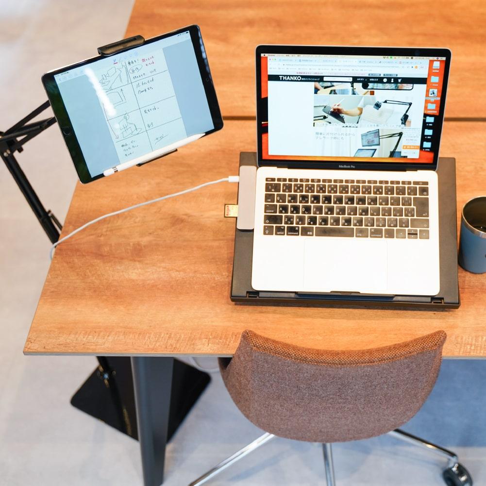 超安定モバイルディスプレイ&タブレットスプリングアームスタンドtall
