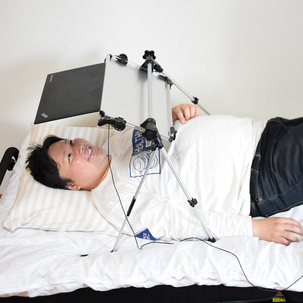 スマホタブレット対応超軽量折りたたみ式「仰向けゴロ寝デスク2」