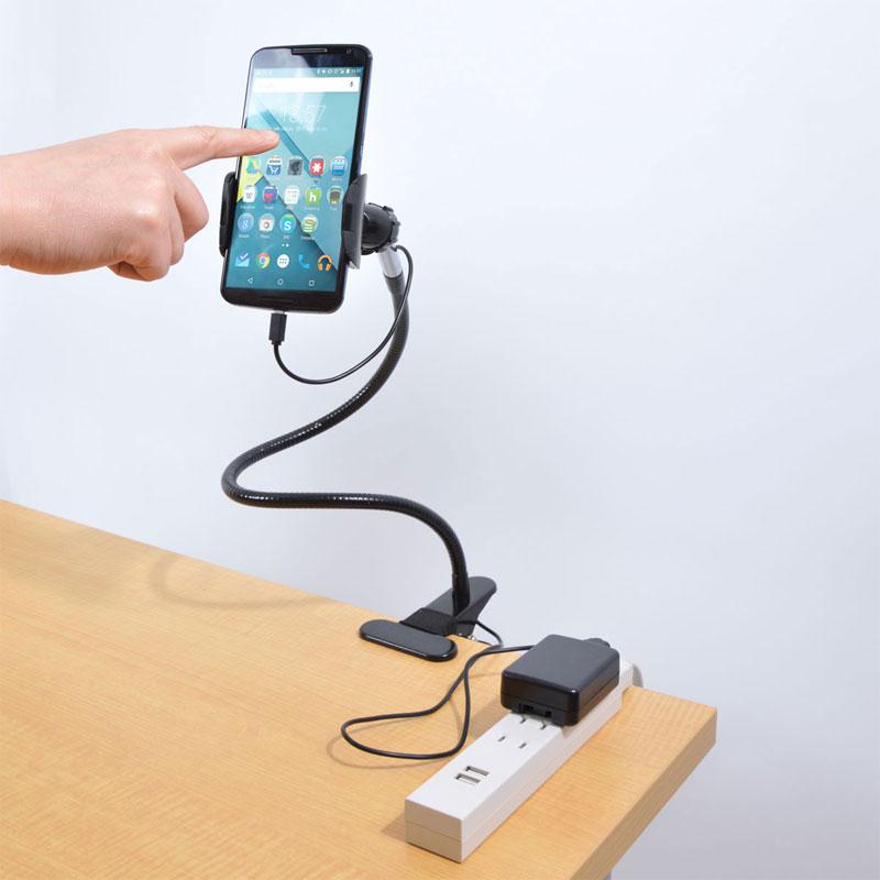 USB充電システム搭載クリップ式フレキシブルアーム