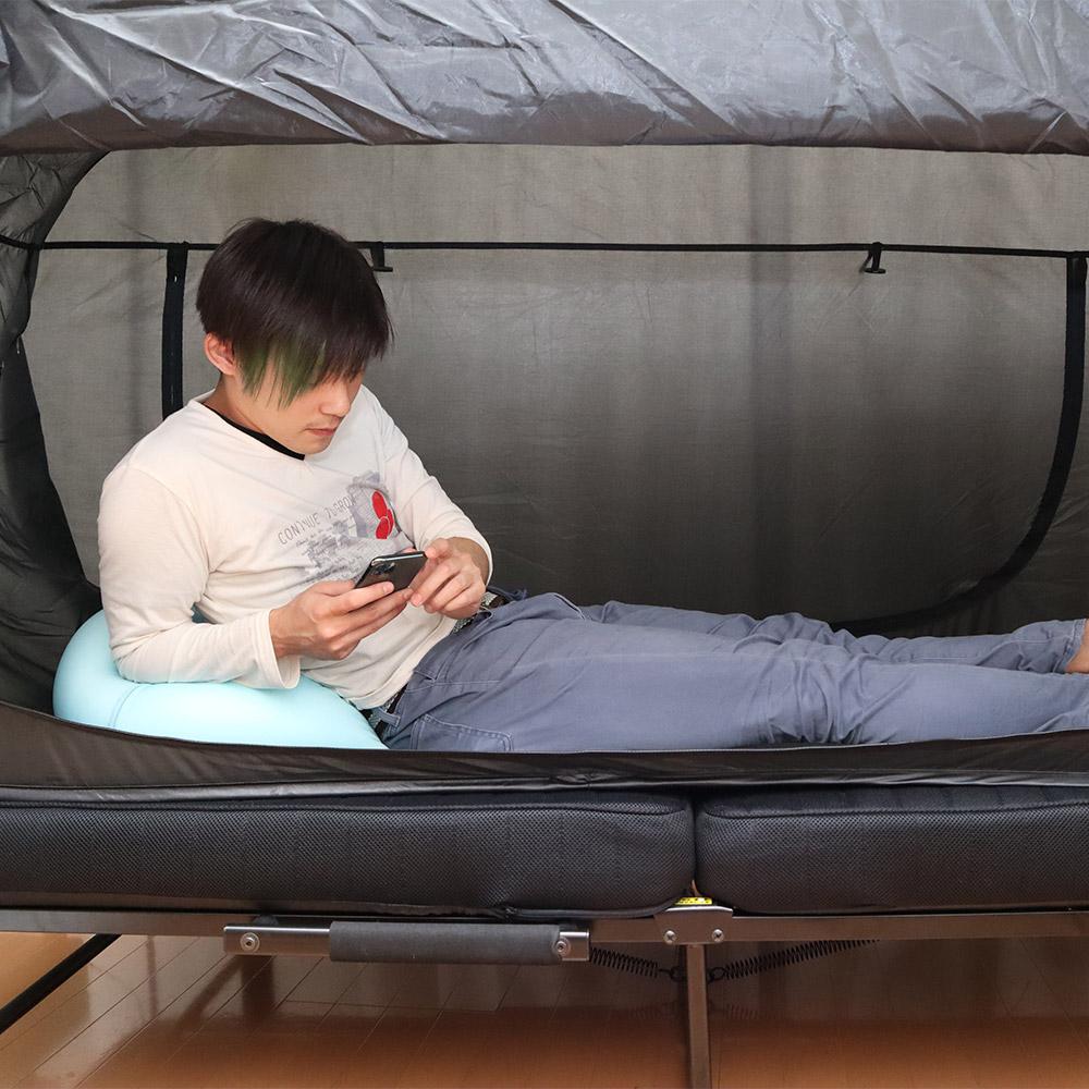 ★次回入荷決定次第予約開始★おひとり様用折りたたみ式テント「ベッドdeテント」