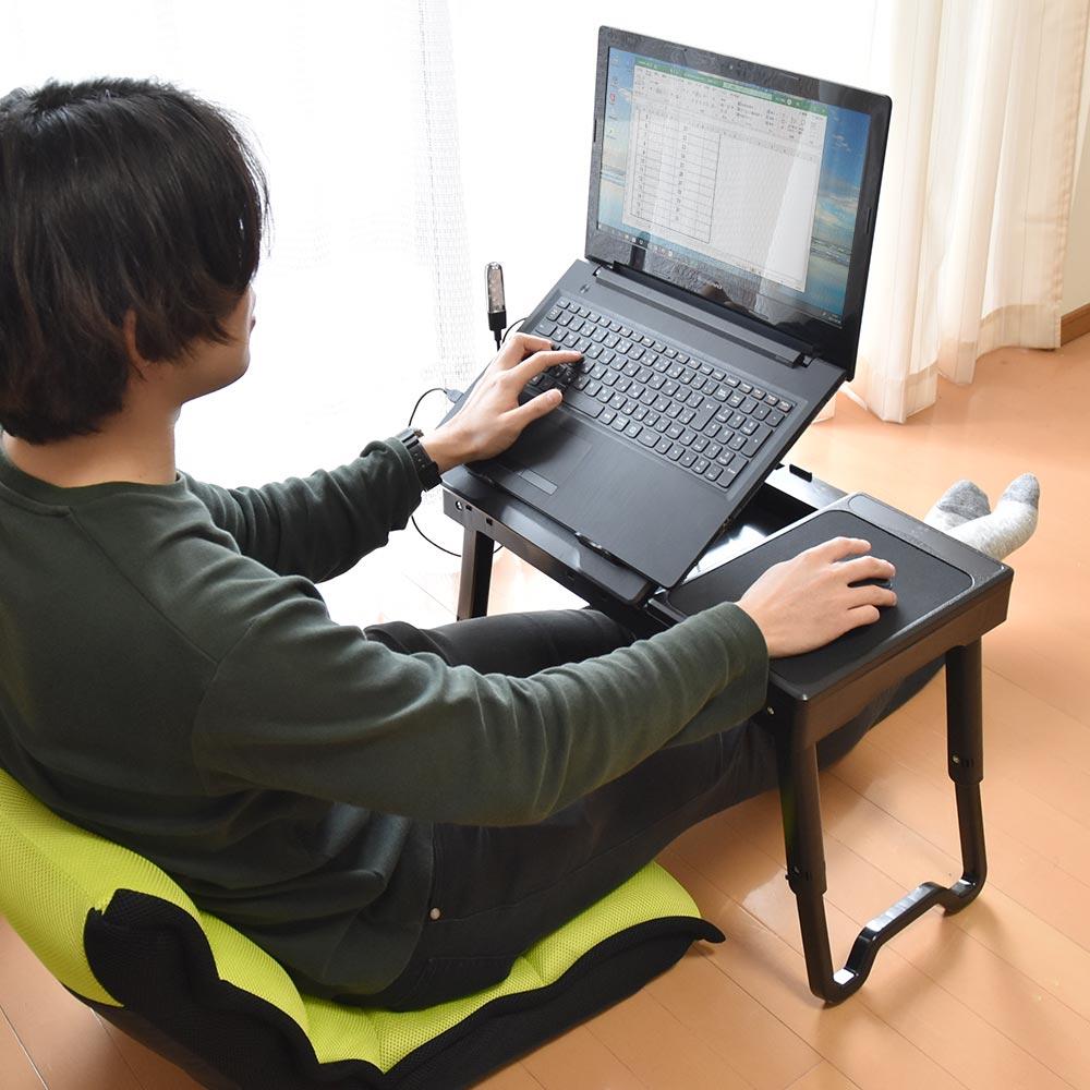 折りたためるPC台「USBハブ付き高さ角度調整ローデスク」
