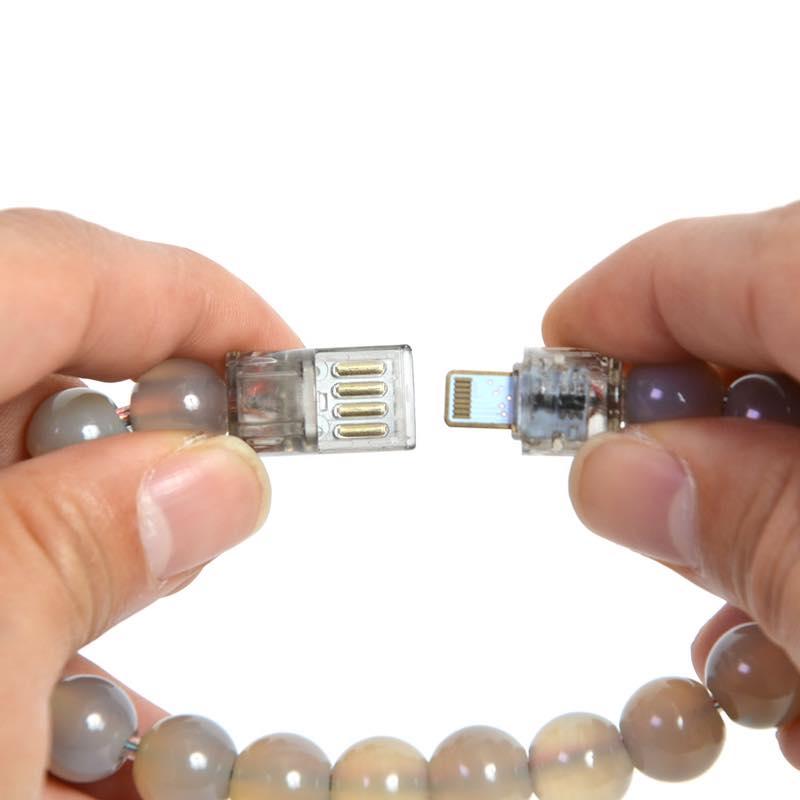 iPhone用天然石メノウ数珠充電ケーブル