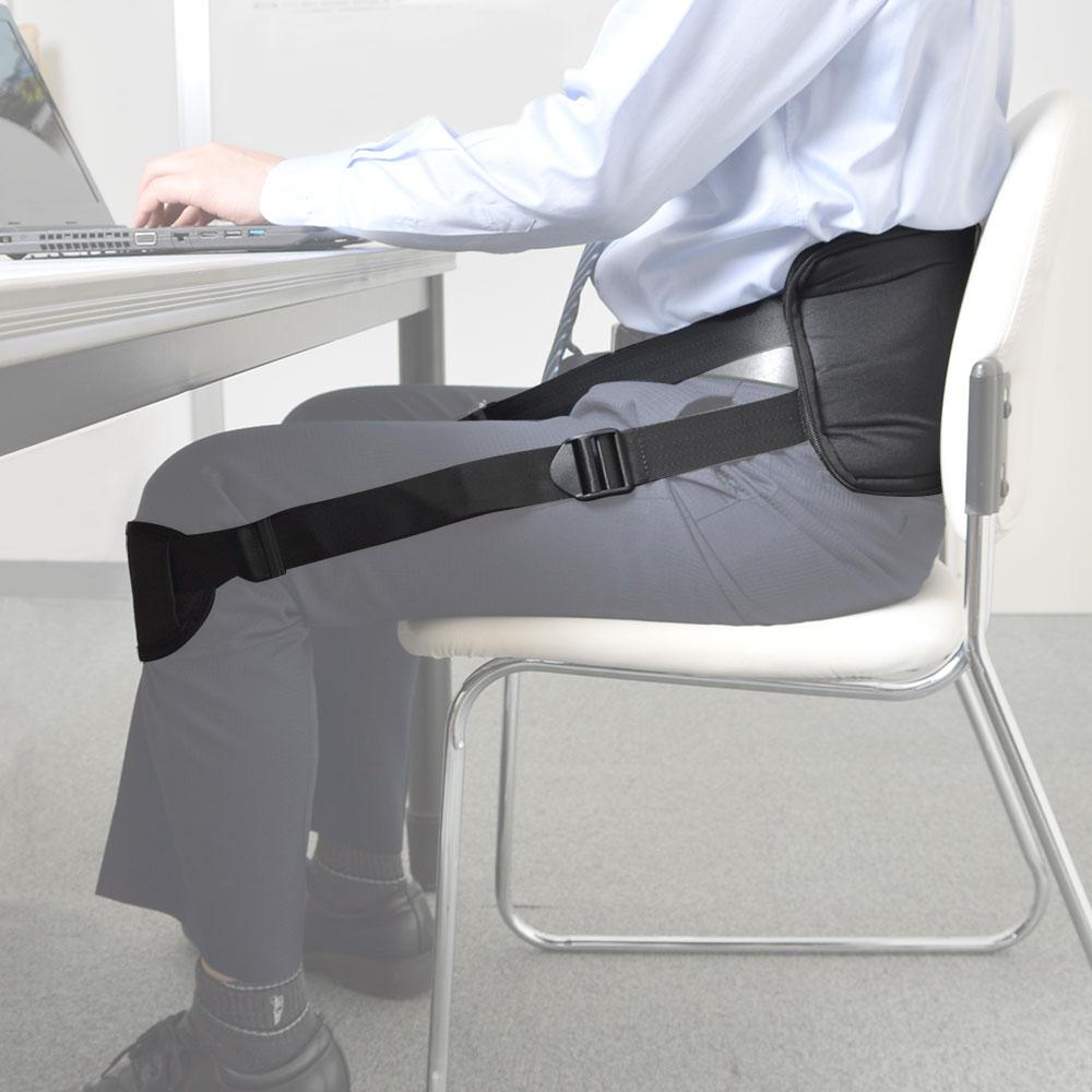 座り仕事を応援する「猫背サポーターバンド ブラック」