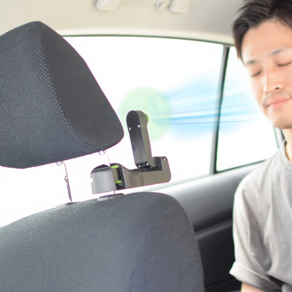 フックにもなる車載用扇風機「ドライブクリップファン」