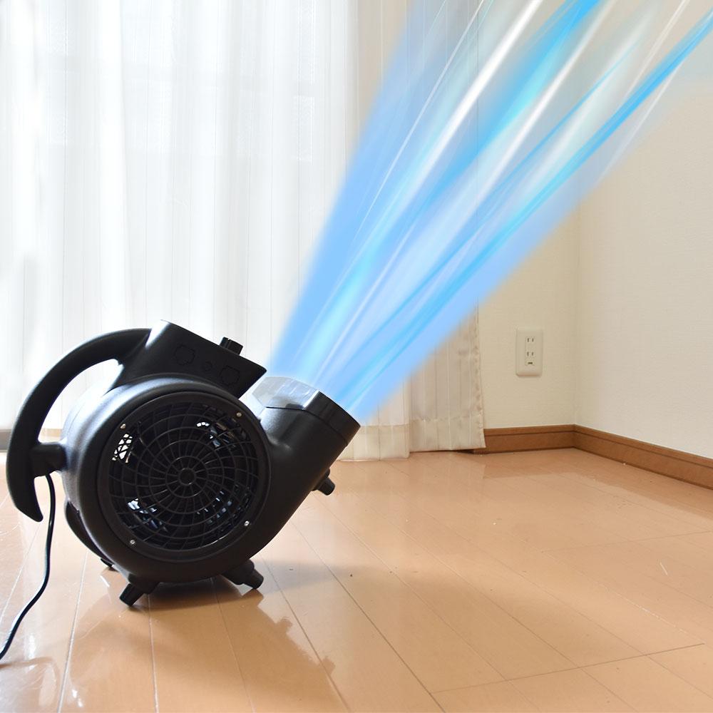 超強力!台風クラスの床用送風機「ストームファンモナイト」