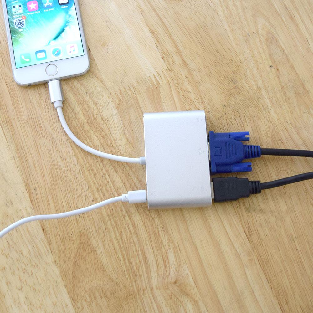 LightningをVGAとHDMIに変換するアダプタ