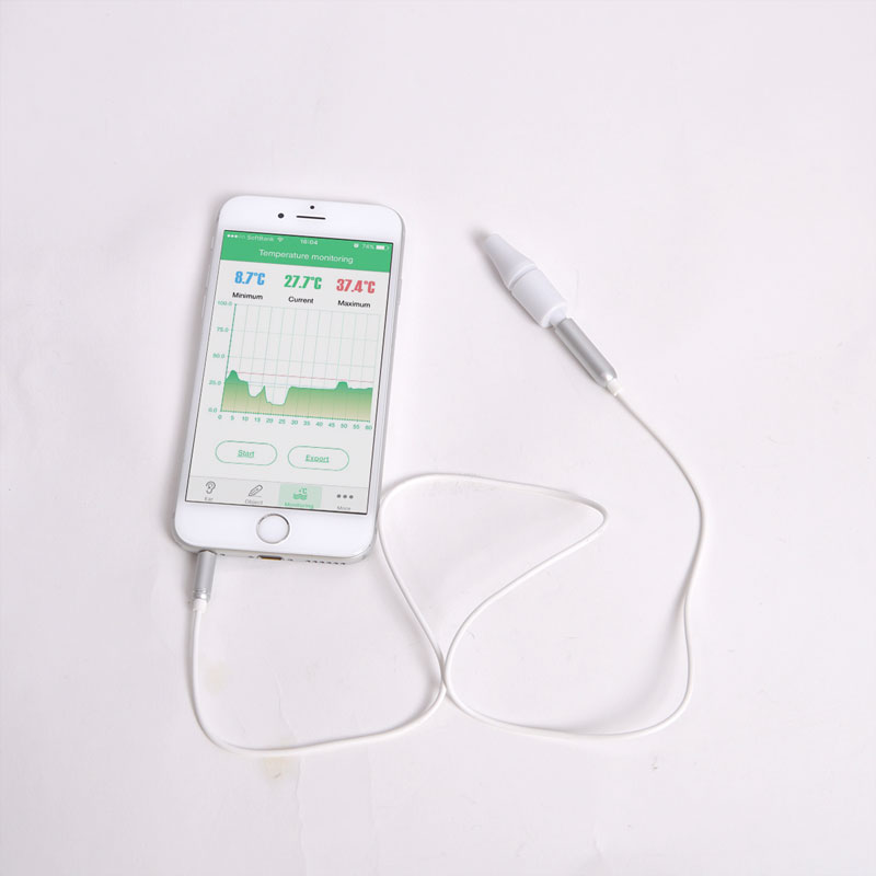 iPhone対応「非接触イヤホンジャック温度計」