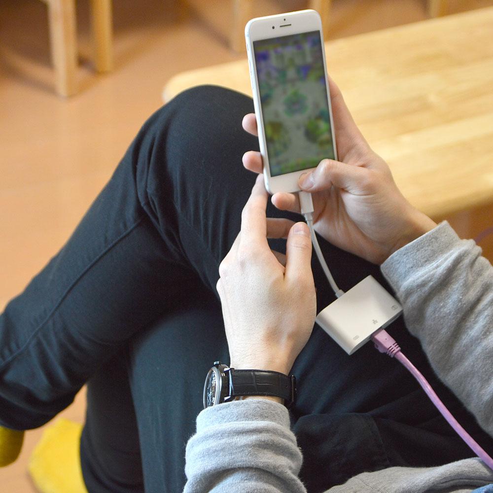 iPhone用lightning有線LAN充電アダプタ