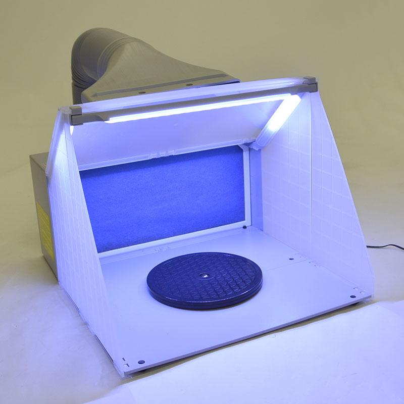 LEDライト付パワフルファン塗装ブース