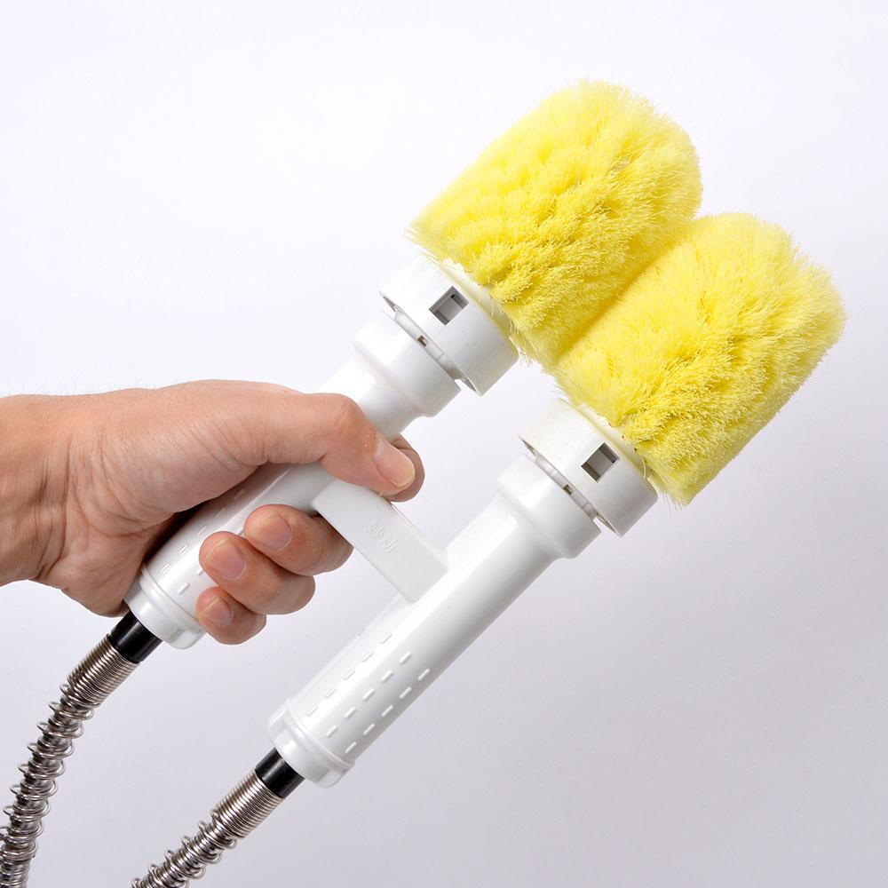 食器洗い用セミオート電動ツインヘッドブラシ