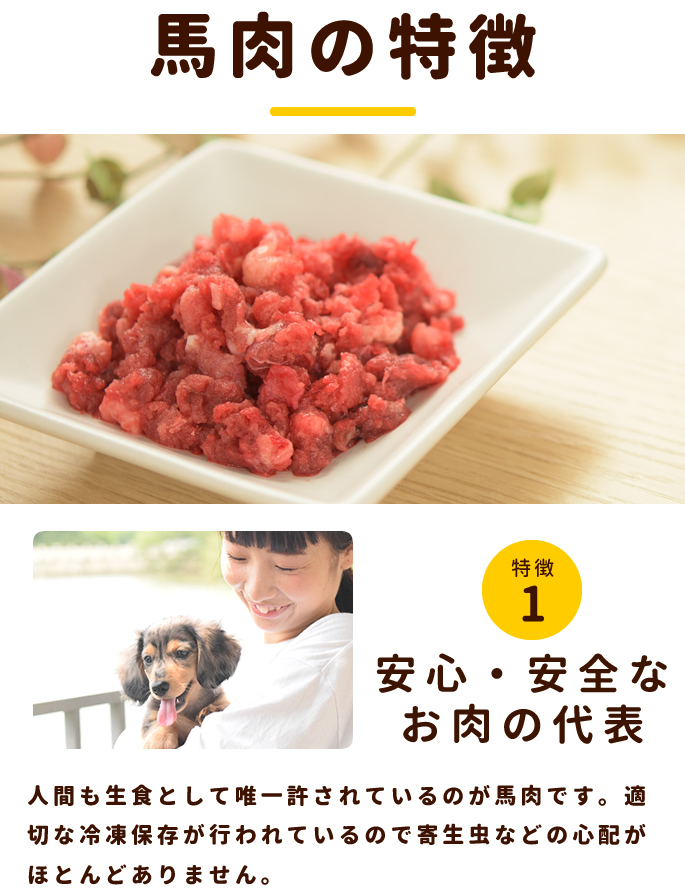 犬用 生馬肉 冷凍 グルコサミン入り馬肉 小分けトレー 1kg【a0016】