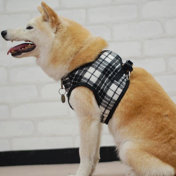 ASHUウェアハーネス ウールチェック Lサイズ(中型犬用) 2枚セット 【リードは別売り】