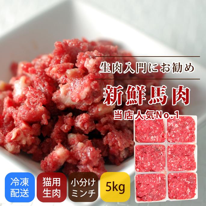 猫用 生肉|冷凍 馬肉 小分けトレー 5kg【まとめ買い】