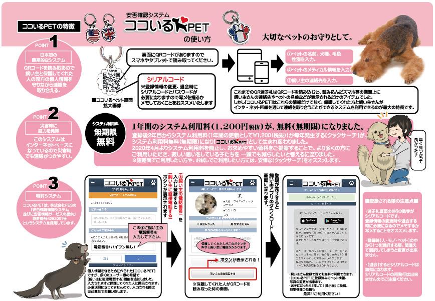 新しいカタチ。QRコード迷子札 ココいるPET【御守り風(小/ペット用)】 日本初の画期的な特許システム