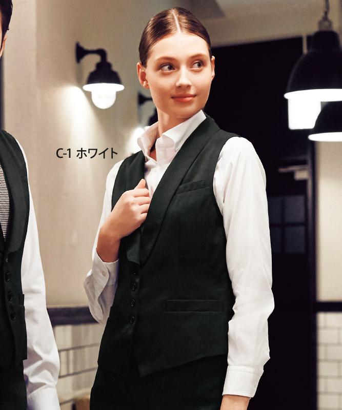 ワイドカラーシャツ長袖[女子][チトセ製品] KM8376