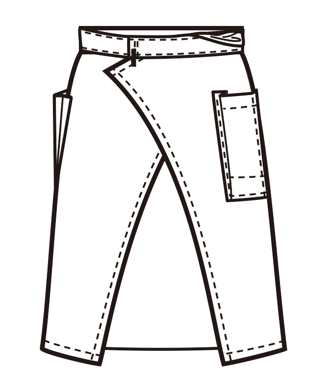 前掛けエプロン(ミドル丈)[男女兼用][ボストン商会製品] 27324