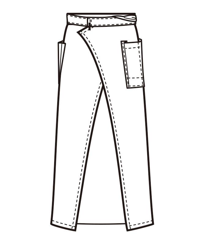 前掛けエプロン(ロング丈)[男女兼用][ボストン商会製品] 27325