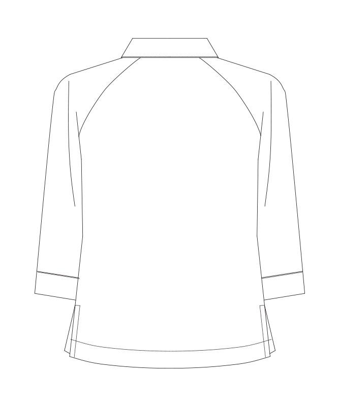 衿付きコックシャツ七分袖[男女兼用][KAZEN製品] 680