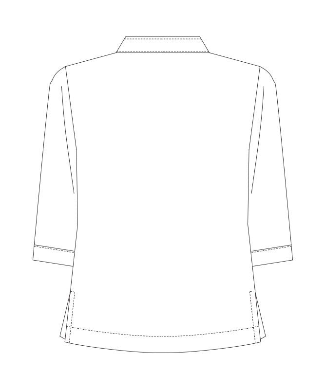 コックシャツ七分袖[男女兼用][KAZEN製品] 681