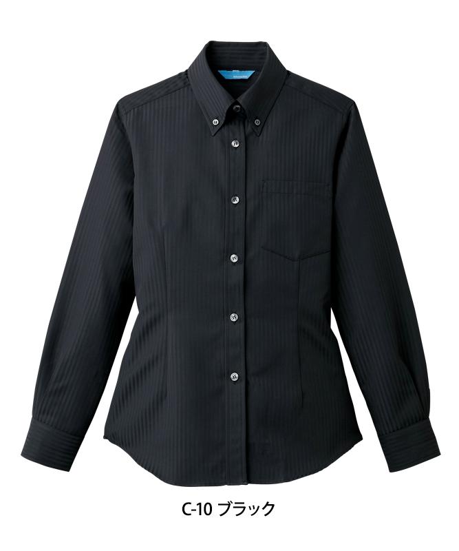 ボタンダウンシャツ長袖(ストライプ)[女子][チトセ製品] BC6920