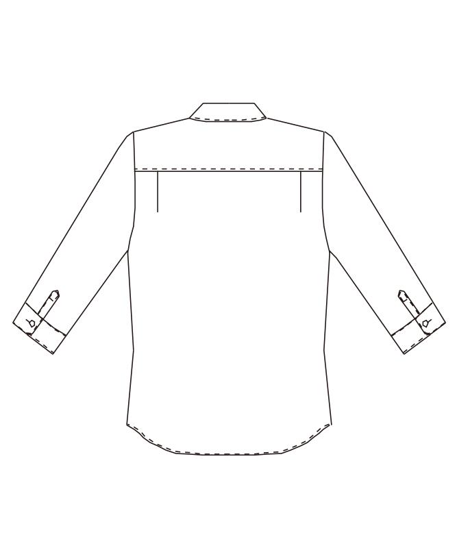 ワイドカラーシャツ七分袖(シャドーストライプ)[男女兼用][チトセ製品] EP7822