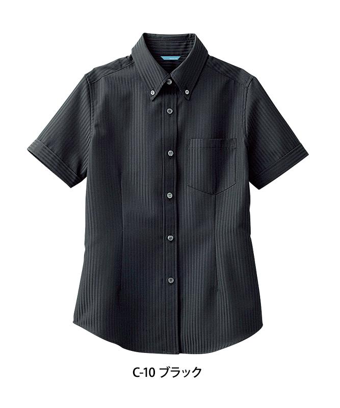 ボタンダウンシャツ半袖(ストライプ)[女子][チトセ製品] BC6921