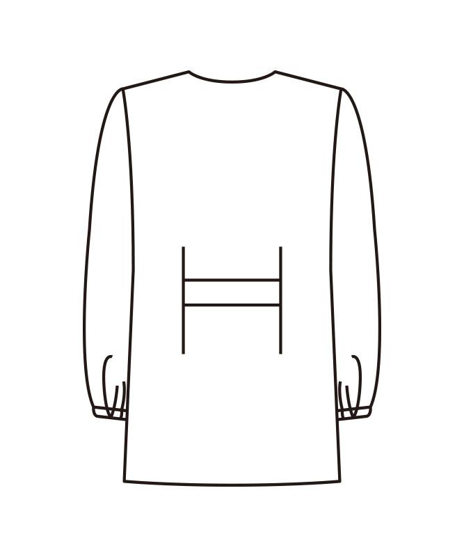 V衿調理衣長袖[女子][KAZEN製品] 525-3