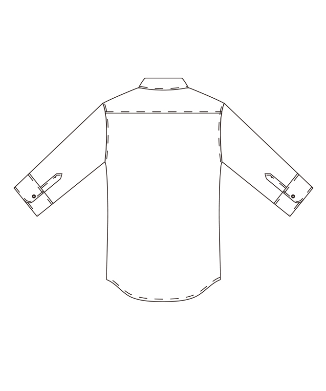 ヘリンボンコックシャツ七分袖[男女兼用][チトセ製品] AS7708