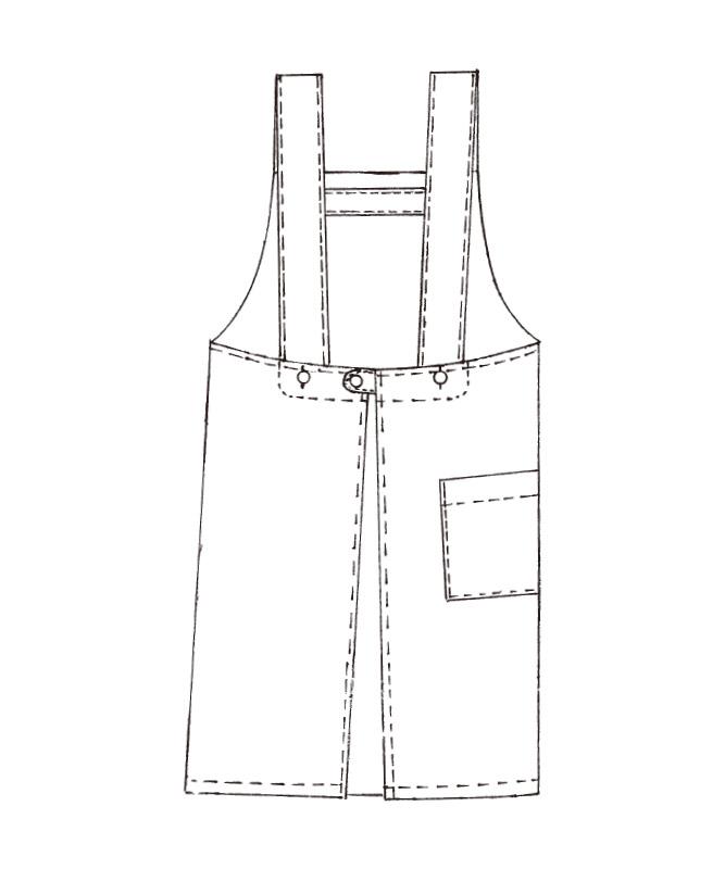 胸当てエプロンH型(ストライプ)[KAZEN製品] APK489-S